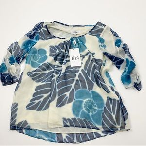 Tibi Floral Silk 3/4 Sleeve Loose Multicolored Top